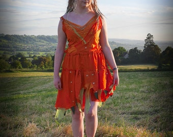 Autumn Fall dress, Adult fairy costume; orange fairy dress, festival clothing, silk chiffon with beads & sequins Size medium