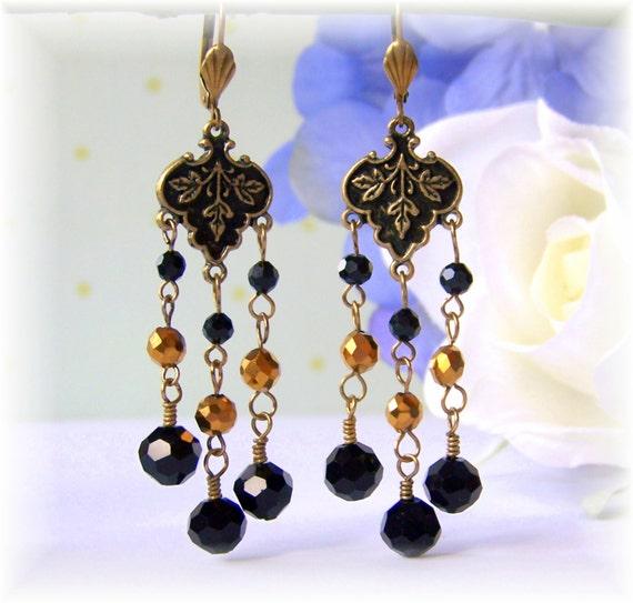 Black Gold Chandelier Earrings, Drop Earrings, Dangle Earrings, Chandelier Earrings, Birthday, Bridal Jewelry, 2014 Trends, Modern Jewelry
