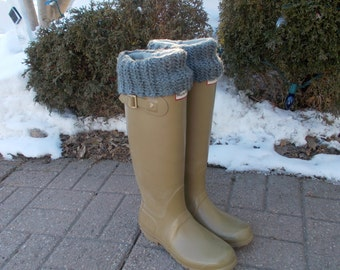 Rain Boot Liner, Gray Hand knit Cuff with Fleece Black Sock, Rain Boot Inserts, Outdoor, Wellies, Rainy,Size Med/Lg 9-11