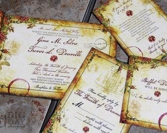 Vintage Parisian Wedding Invitation Suite. Paris inspired wedding invitations