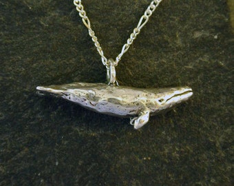 Sterling Silver Original Grey Whale Pendant on Sterling Silver Chain.