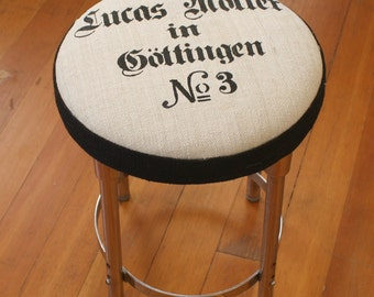Awesome Antique German Grain Sack Covered Vintage Chrome Industrial Stool