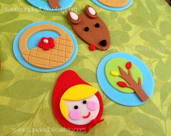 LITTLE Red RIDING HOOD Fondant Cupcake Toppers