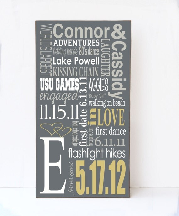 Personalized Wedding Gift, Anniversary Gift, Gift for Wedding, Wedding Shower Gift, Custom Wedding Subway Sign, Engagement Gift, Wood Sign