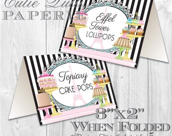 Paris Party, French Party, Parisian Party Printable Tent Signs by Cutie Putti Paperie