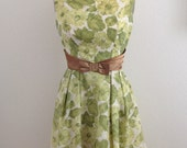 1960s Green Floral Fit and Flare Dress with Self Belt