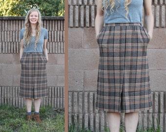 Vintage 70s Preppy Pendleton WOOL Brown PLAID w/ Pockets Front Pleat A-Line Midi Skirt - XS / S Small