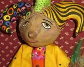 ITALIAN CLOWN JESTER - Handmade Cloth Doll