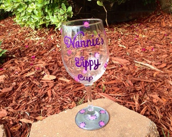 Nannie's Sippy Cup painted wineglass