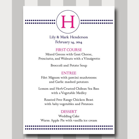 Simple Wedding Reception Food: Items Similar To Circle Menu Card, DIY, Printable