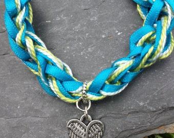 Handmade Lucet braided Angel wings Bracelet,mala bracelet,medieval style yoga,fibre, new age, blue and green bracelet,boho,textile bracelet