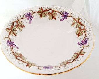 Grapevine Aynsley Cereal Soup Bowls English Fine Bone China Vintage - ivy grape leaves leaf vines vine purple brown white - C1182 dessert