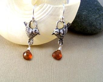 Sterling Silver Birds & Spessartine Garnet Earrings-Nature Inspired Jewelry