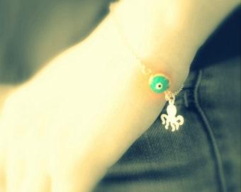 cuttlefish bracelet- gold plated evil eye bracelet- BEACH- summer dainty bracelet- teen jewelry
