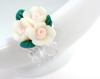 White and Pink Bouquet Polymer Clay Roses Flower Ring on Adjustable Filigree