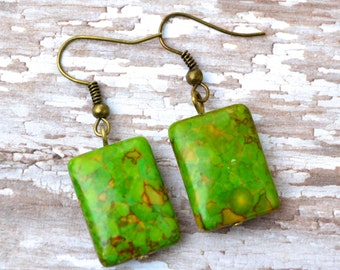 Green Mosaic Turquoise Rectangles . Earrings