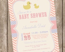 Rubber Ducky Baby Shower Invitation, rubber duckie baby shower invitation, baby shower invitation, vintage, pink and purple, printable,