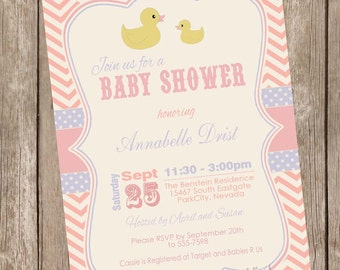 Vintage Ducky Baby Shower Invitation, duckie baby shower invitation, baby shower invitation, vintage, pink and purple, printable,