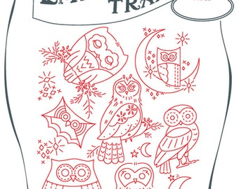 Iron-On embroidery transfer Hoot Owls to stitch onto and customize any fabric pilow case towel napkin DiY