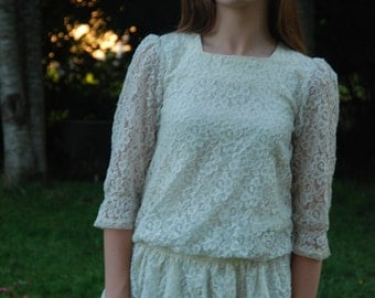 50's Lace Blouse White Lace - S