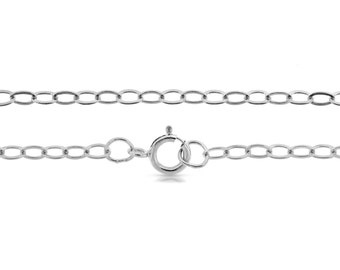 """Sterling Silver 3x2.2mm 18"""" Flat Cable Chain Strong Shiny  - 1pc (5705)  Made in USA 10% discounted lowest price"""