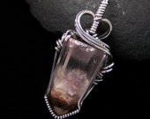 Scenic Lithium Phantom Quartz Point Pendant Oxidized Sterling Silver Wire Wrapped Mauve and Beige