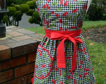 Valentine's Apron - Cherry Pie Black & White Gingham