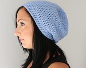 Serenity Blue Slouchy Beanie Hat, Light Blue Classic Beanie, Crochet Fashion Accessories