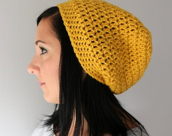 Honey Mustard Yellow Slouchy Hat, Crochet Fashion Accessories