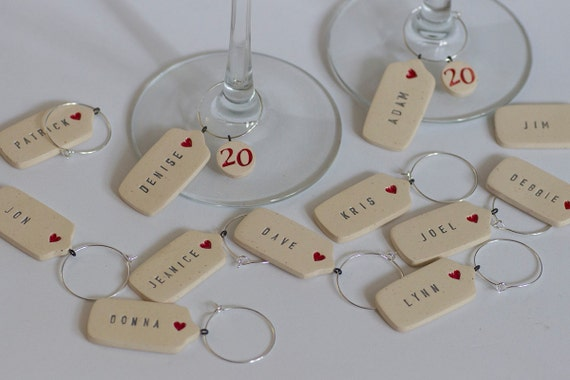 Mini Heart Gift Tags Ceramic Personalized Wine Glass Charms