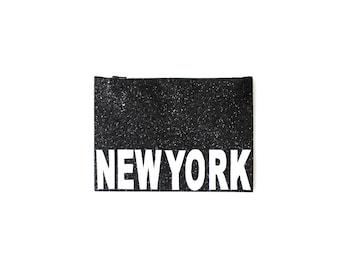 Handmade Glitter Sparkle Black & White London New York Paris City Cosmetic Bag, Make-up bag, Zip Bag, Zipper Bag Clutch, Purse Handbag Gift