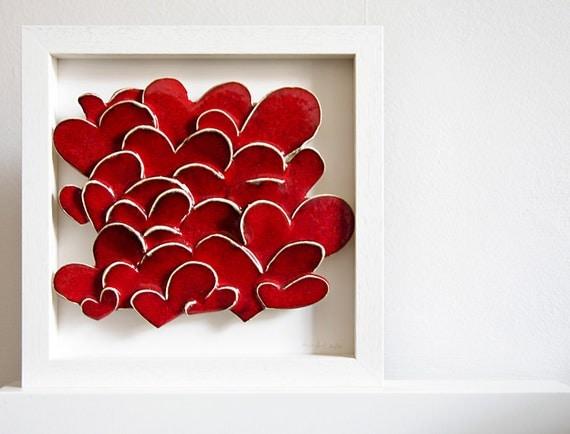 Modern Wedding Gift: Items Similar To Love Hearts, Modern Ceramic Wall Art
