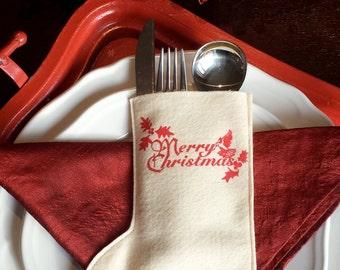 Holiday Silverware holders - christmas silverware stockings