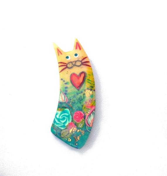 Valentine cat heart pin