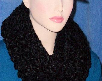 Black Crochet Infinity Scarf, Crochet Infinity Scarf, Black Infinity Scarf, Black Scarf, Crochet Scarf, Crocheted Scarf Plush Infinity Scarf