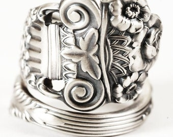 Silver Rose Ring, Flower Spoon Ring Sterling Silver,  Roman Column, Towle Silver, Hand Forged Ring, Rose Ring, Adjustable Ring Size (5851)