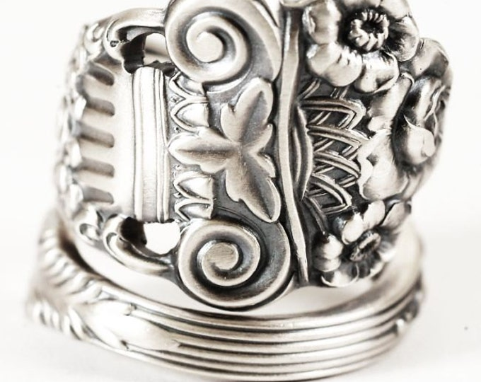 Silver Rose Ring, Flower Spoon Ring Sterling Silver,  Roman Column, Georgian Towle, Hand Forged Ring, Rose Ring, Adjustable Ring Size (5851)
