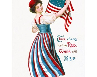 Fourth of July Greeting Card - Girl with Patriotic Flag - Repro Ellen Clapsaddle
