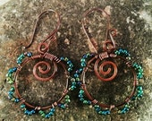 Copper Wire Wrapped Hoop Earrings with Blue GreenBeads.  Handmade Bohemian