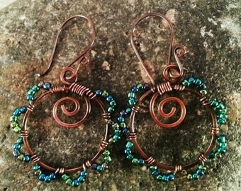 Copper Wire Wrapped Hoop Earrings with Blue GreenBeads.  Handmade Bohemian