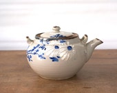 Vintage Japanese Teapot with lid, Asian Stoneware Oriental Pottery, blue white handpainted flowers