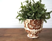 Vintage pottery planter, Hand painted from Mexico, brown and white floral pattern, flower motif