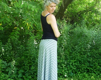 Organic Clothing Chevron Maxi Skirt Organic Cotton Hemp Stripes Blue Green Woodland Nature Hemp Clothing Organic Maxi Skirt Handmade Custom