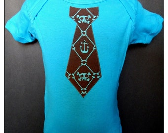 Turquoise Onesie with Anchor Tie Applique - Punk Baby Clothes - Rockabilly Baby