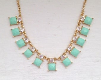 Mint Necklace Mint Squares Delicate Necklace