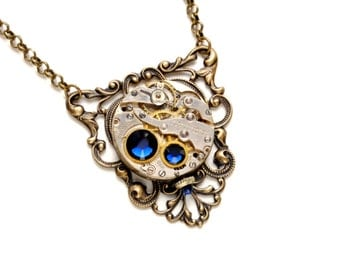 SEPTEMBER Steampunk Necklace SAPPHIRE Blue Steampunk Jewelry, Vintage Watch Necklace Antique Brass Steampunk Jewelry Victorian Curiosities