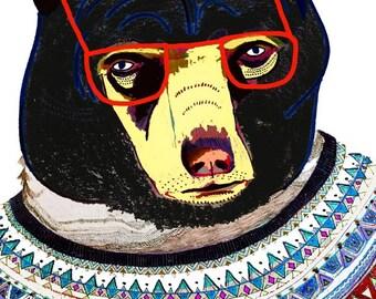 Cool Bear Art Print - Children's Room Decor - Print For Kids