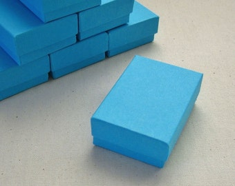 High Quality Matte Turquoise Blue Cotton Filled Jewelry Boxes 100% Recycled 2.5 x 1.75 x 15/16 inches - 10 Small