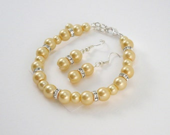 Yellow Bridesmaid Bracelet and Earrings Set, Yellow Wedding Jewelry Bracelet & Earrings Set, Canary Yellow Bridesmaid Gift
