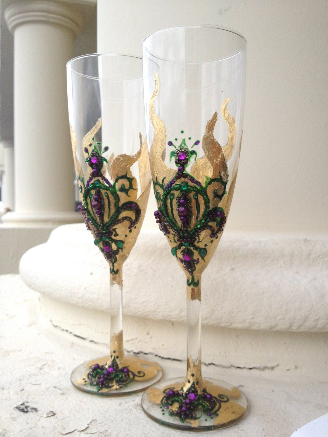 wedding champagne glasses toasting flutes with a by purebeautyart. Black Bedroom Furniture Sets. Home Design Ideas